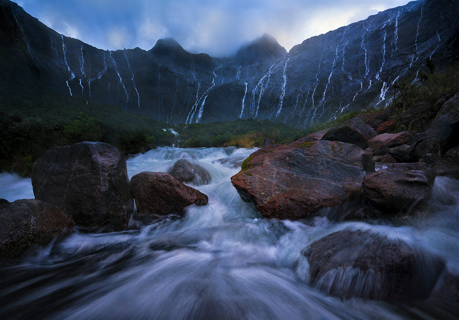 Waterfalls and heavy rain, Fiordland