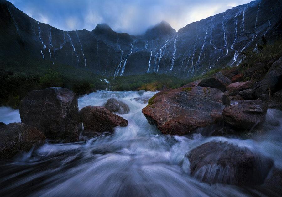 Waterfalls and heavy rain, Fiordland