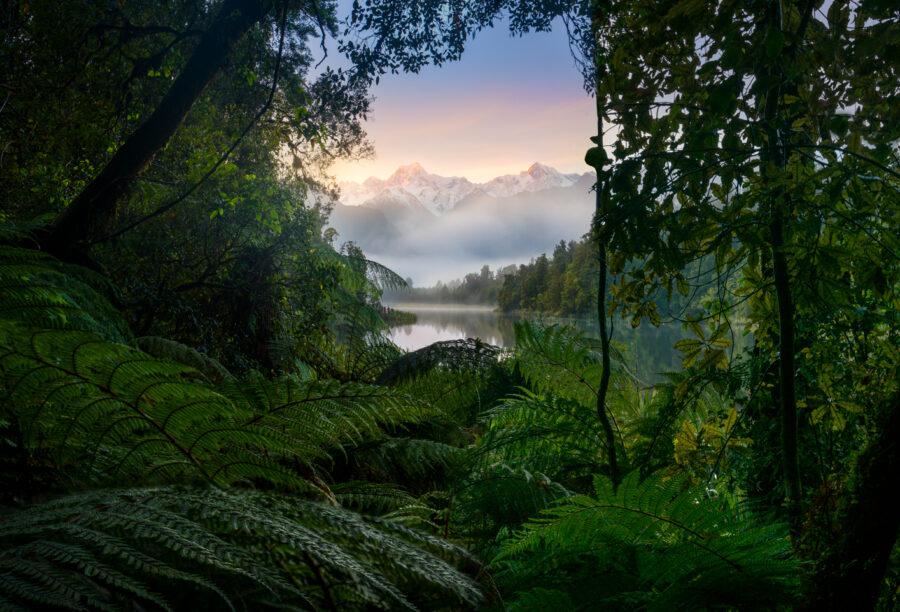 Sunrise, Mount Cook and Mount Tasman