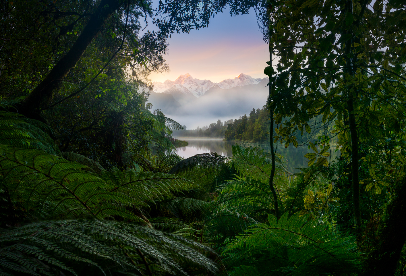 Sunrise, Mount Cook and Mount Tasman