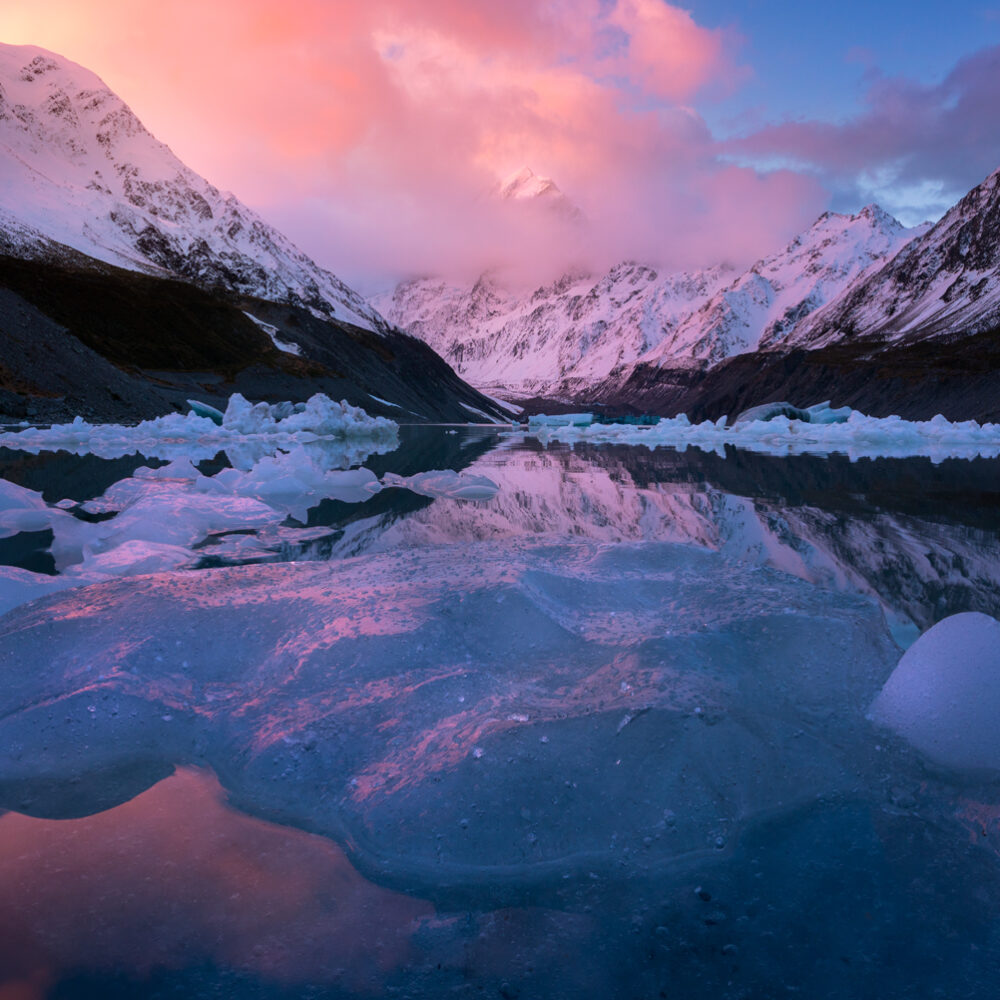 Sunset, Hooker Lake New Zealand