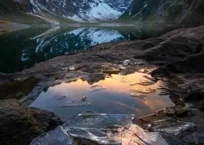 Lake Marian sunset, New Zealand
