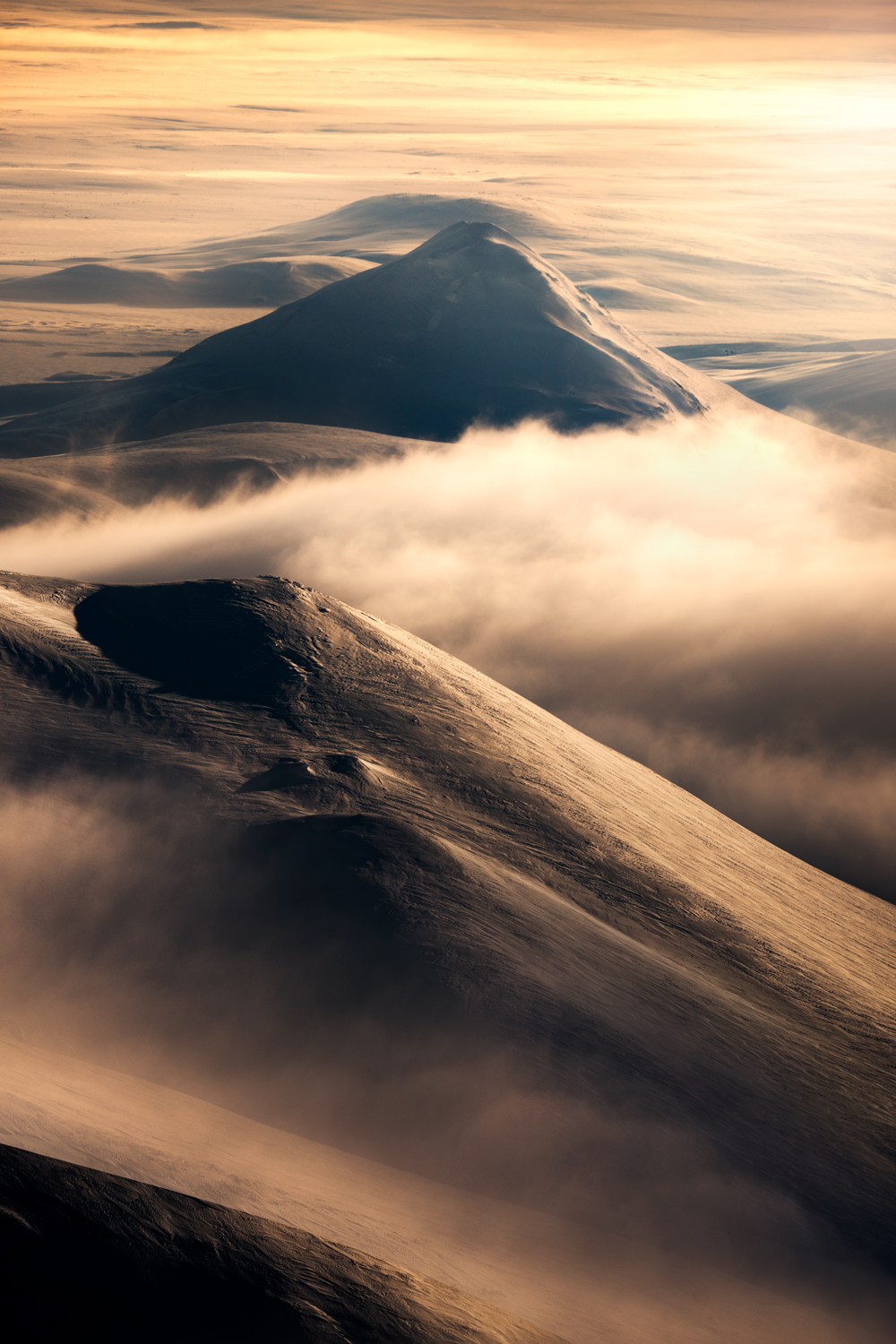 Snow capped mountains at dawn, Iceland