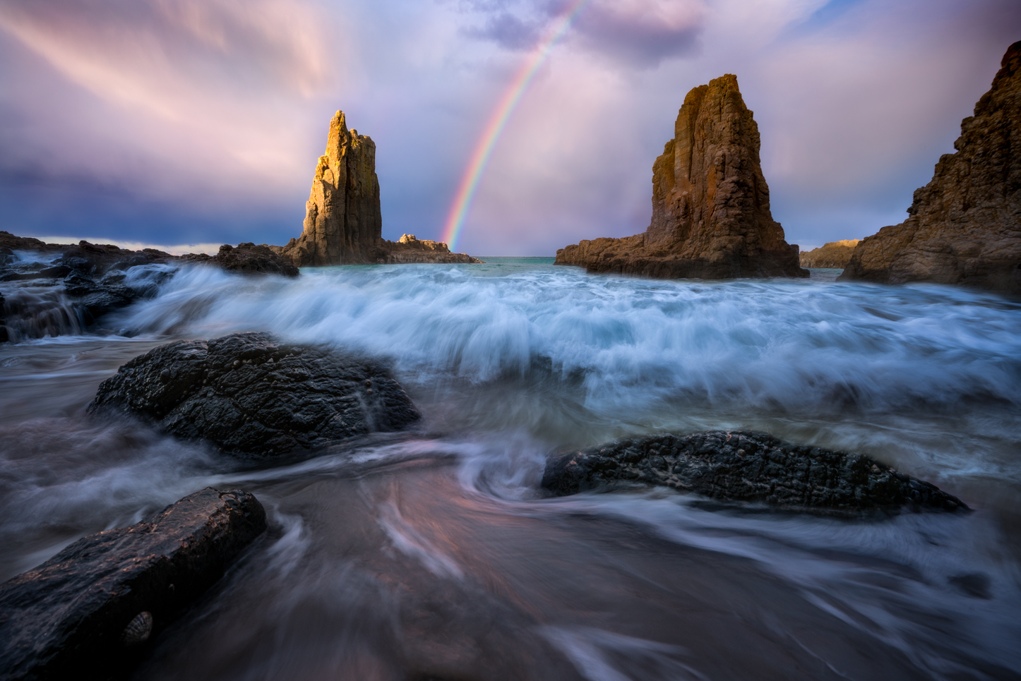 Rainbow at dusk, Cathedral Rocks Kiama