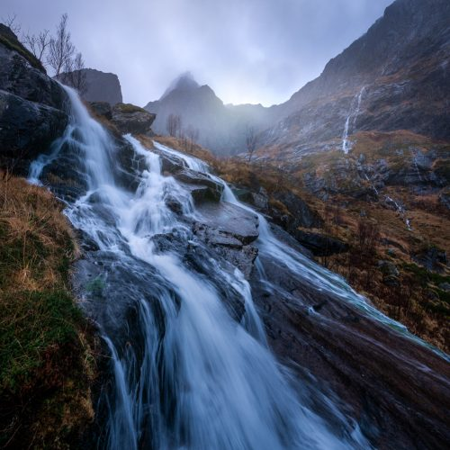 Waterfalls and mountains, Lofoten Norway