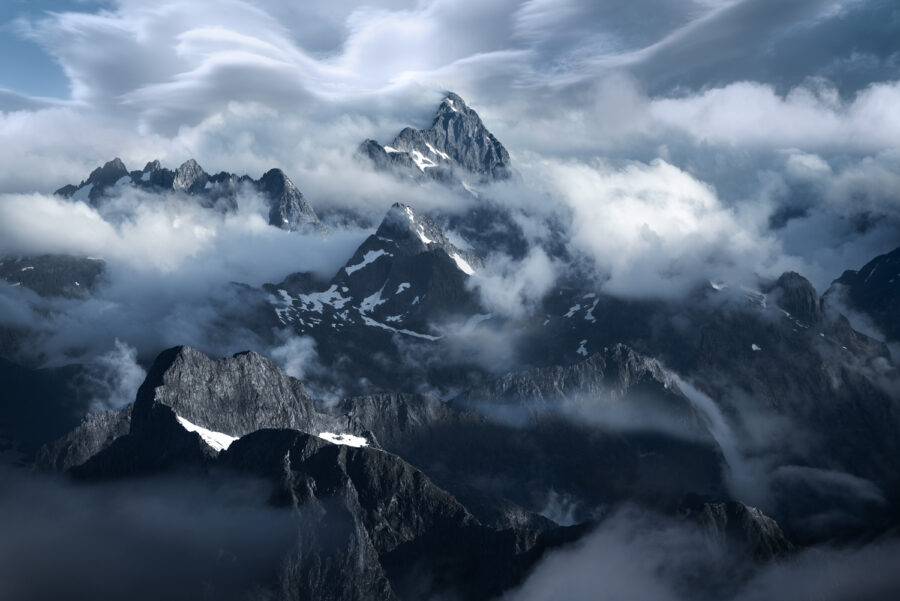 Lenticular clouds above the mountains of Fiordland, New Zealand