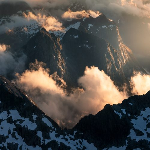 Sunset light and cloud. Fiordland, New Zealand.