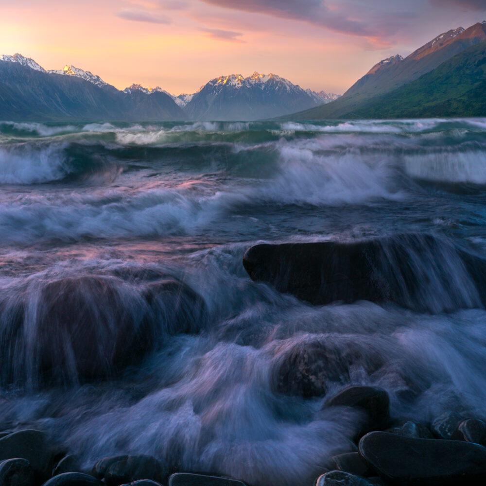 Waves at sunset, Lake Ohau New Zealand.