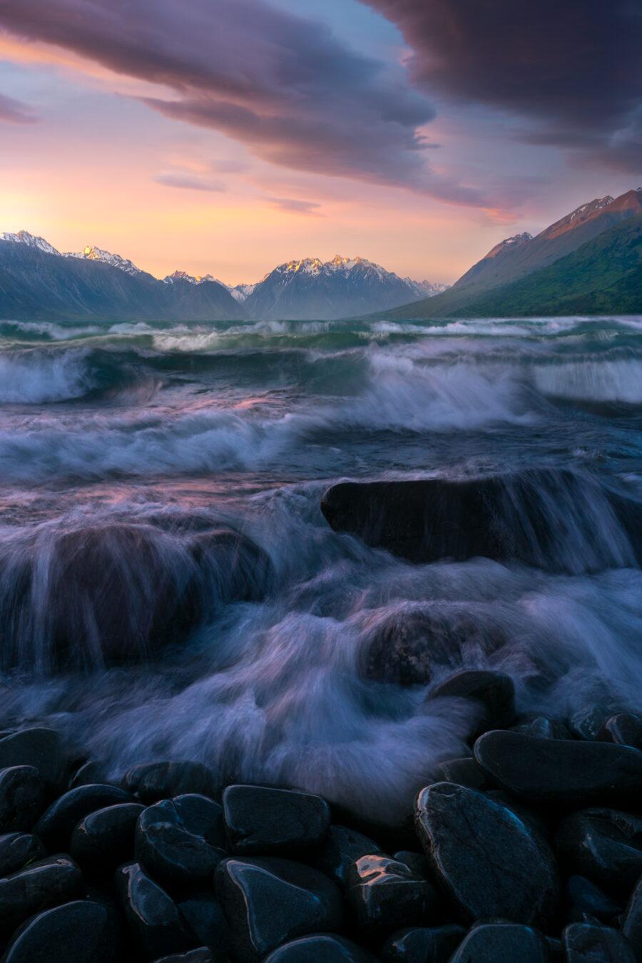Waves at sunset, Lake Ohau New Zealand.