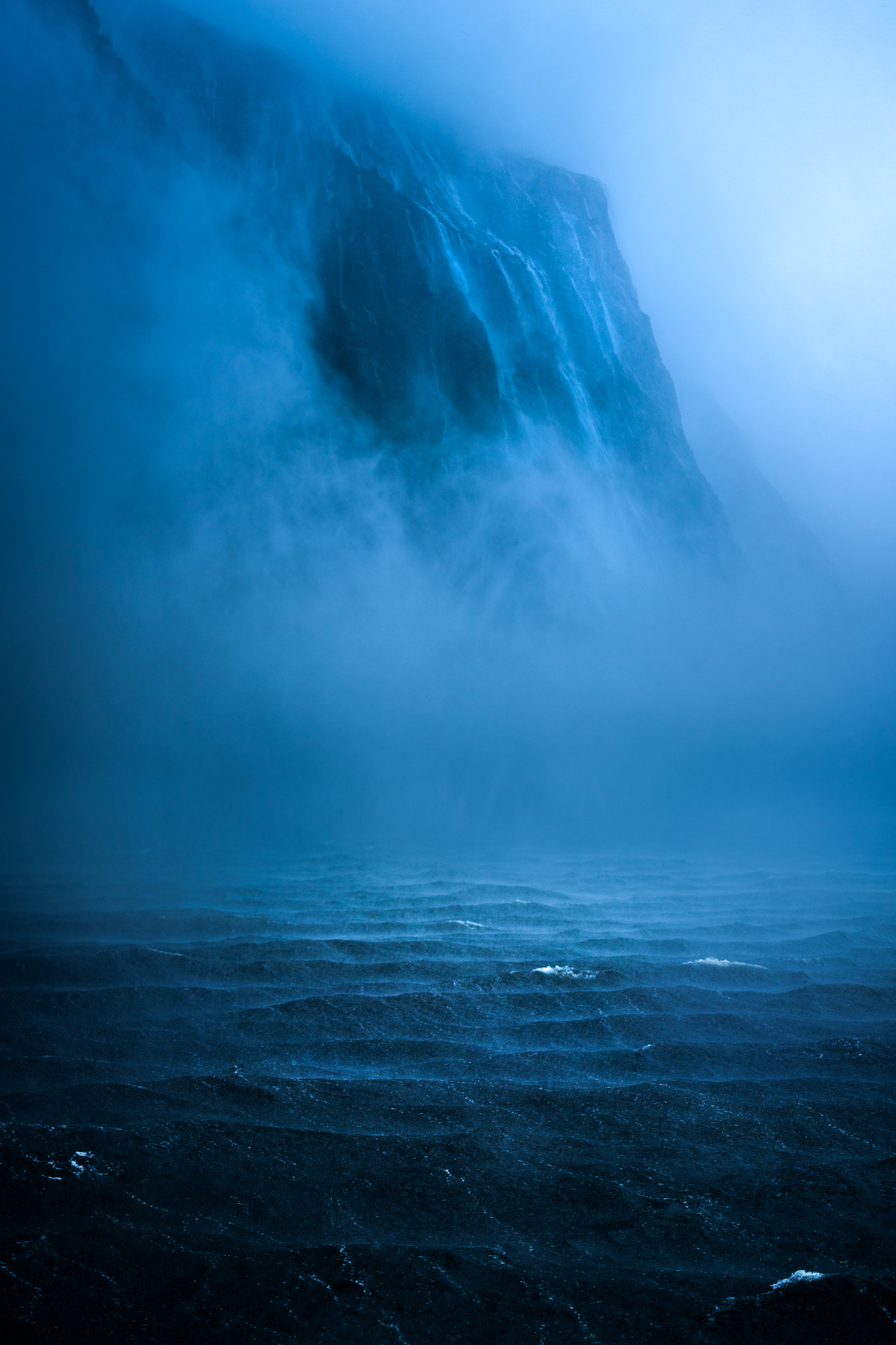 Heavy rainfall, Milford Sound New Zealand
