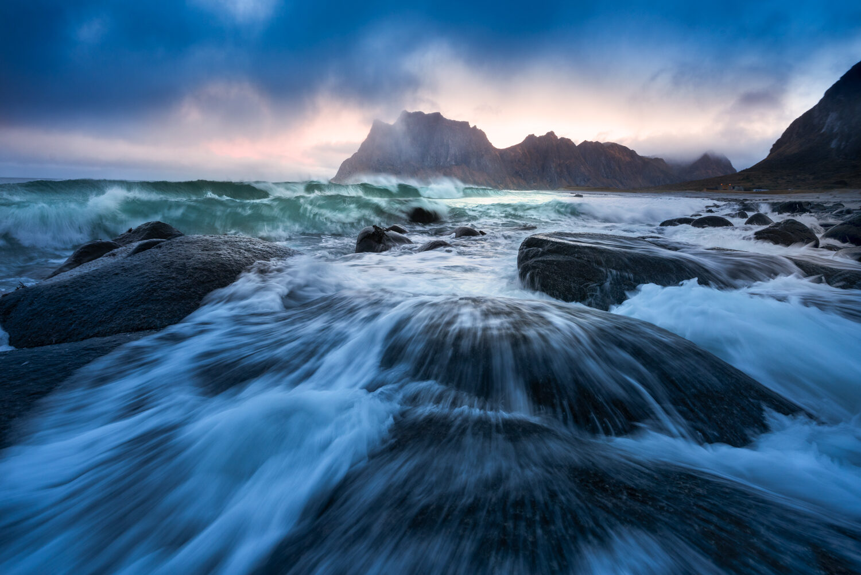 Crashing waves at dawn in Lofoten