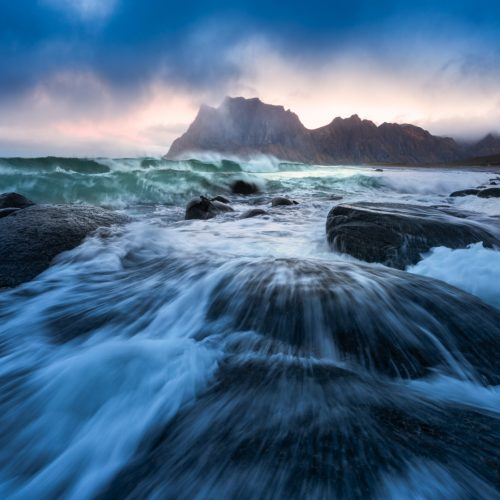 Crashing waves at dawn in Lofoten