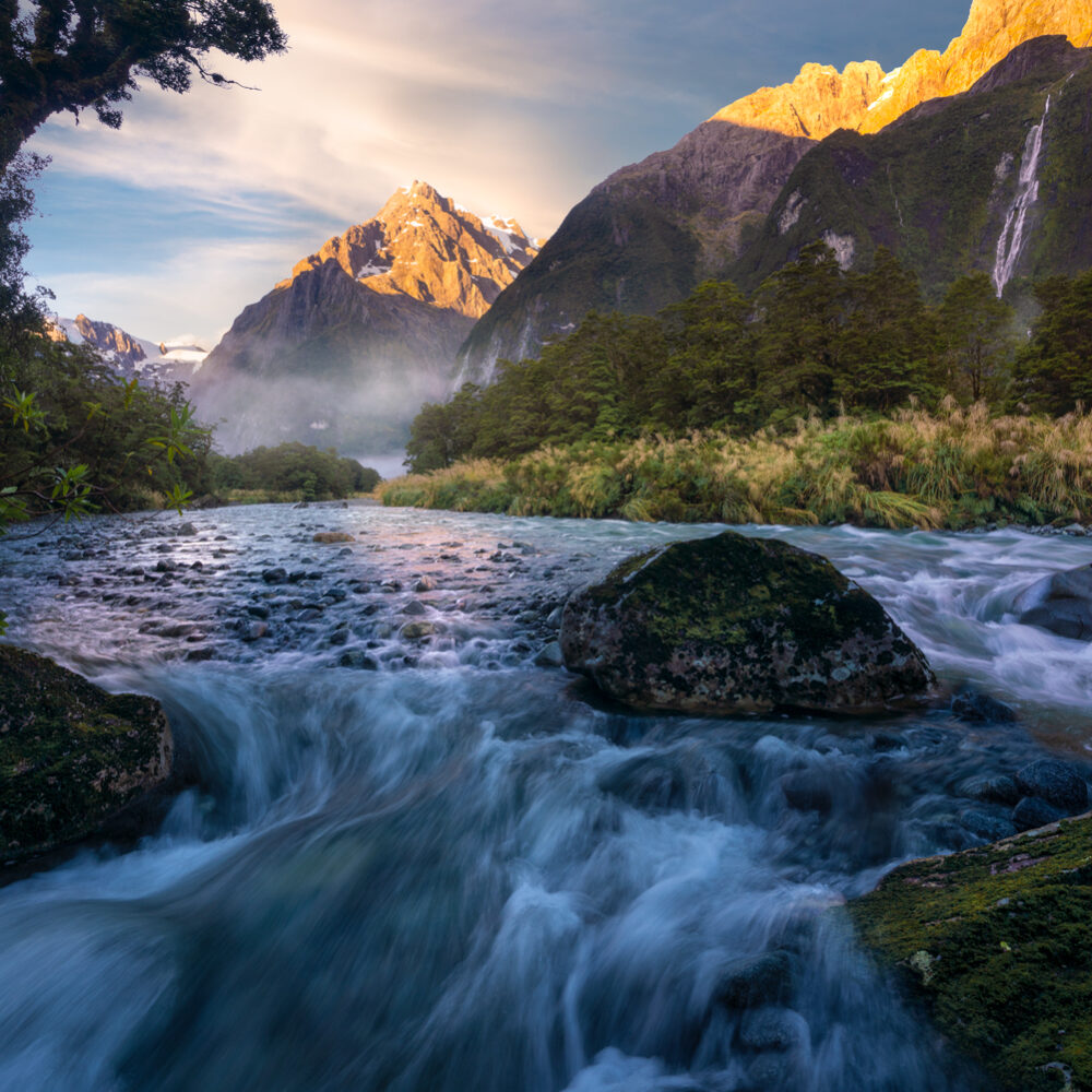 Mountain and river scene, Fiordland New Zealand.