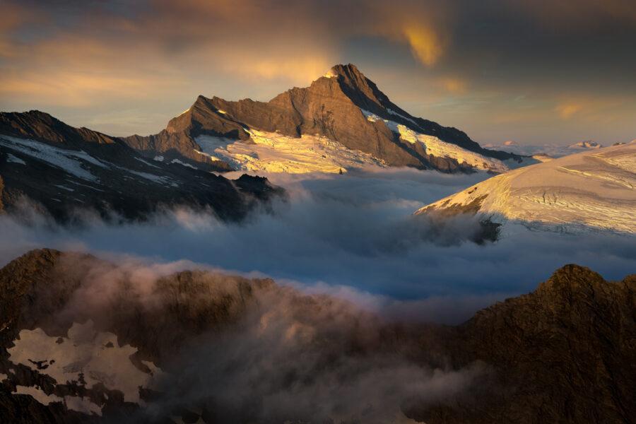 Glaciated Mount Aspiring sunrise, West Coast New Zealand