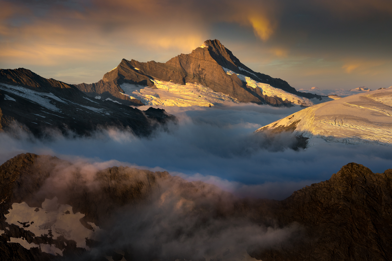 Glaciated Mount Aspiring sunrise, West Coast New Zealand