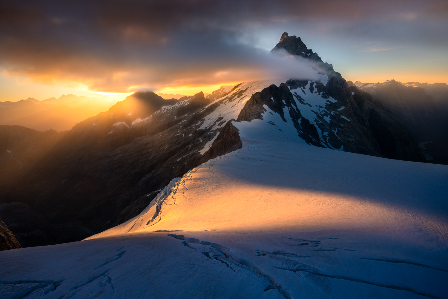 The tallest mountain in Fiordland, Mt Tutoko at dawn, New Zeraland