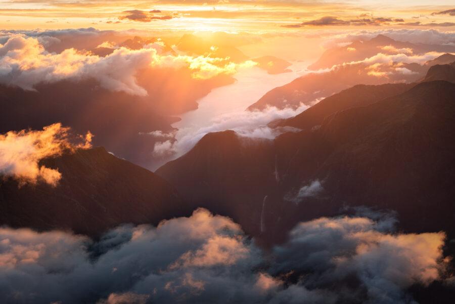 Sunset, Doubtful Sound Fiordland New Zealand