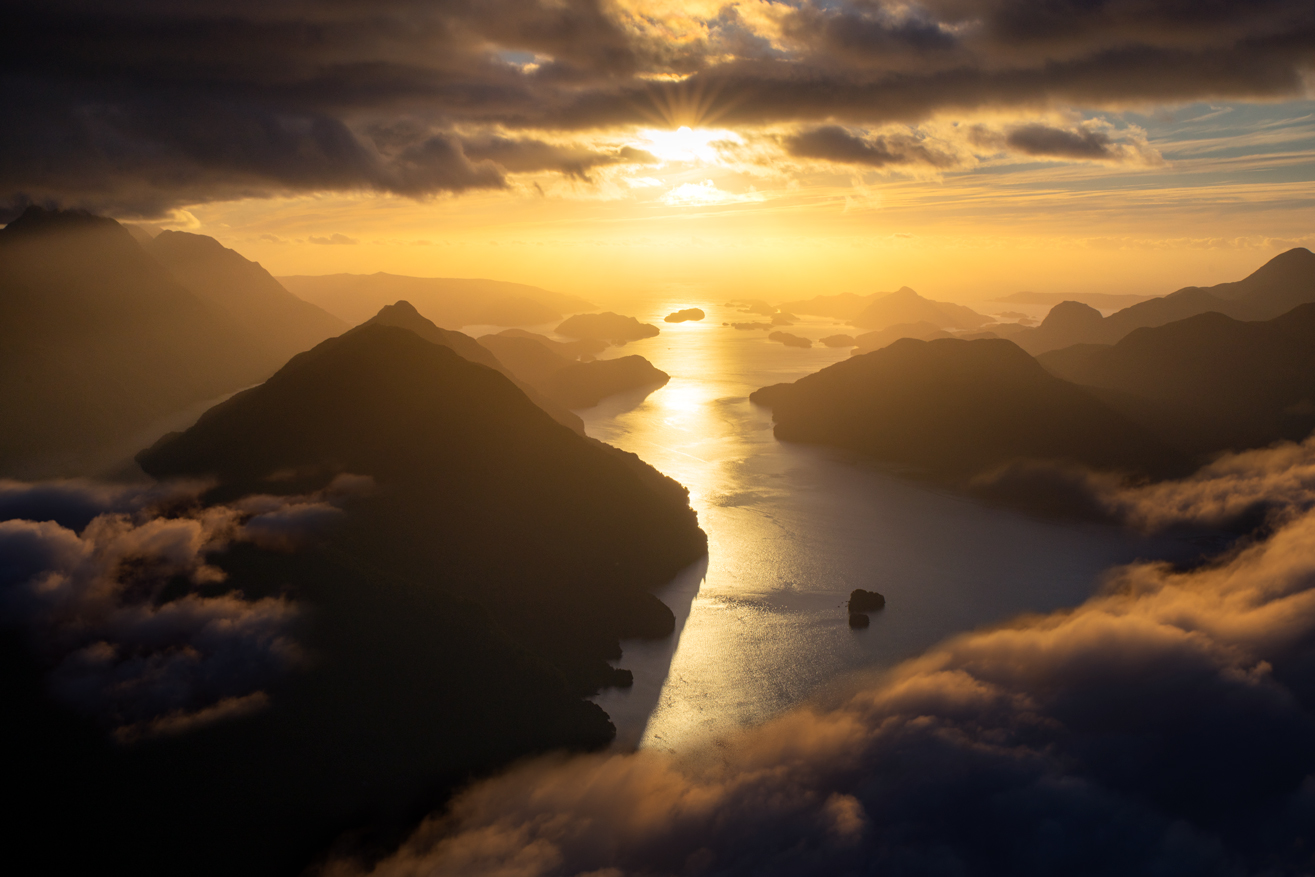 Sunset, Dusky Sound, Fiordland new Zealand