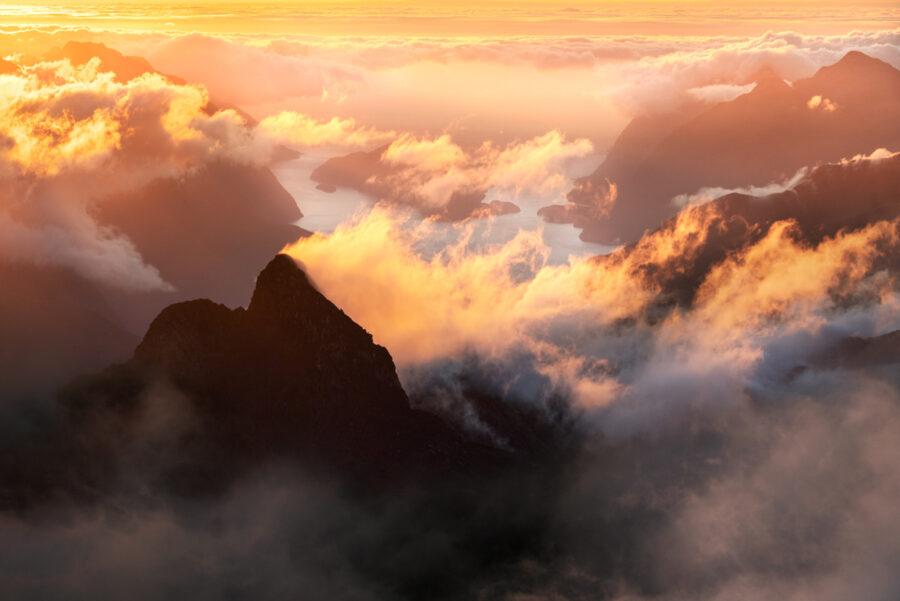 Sunset over Doubtful Sound, Fiordland New Zealand