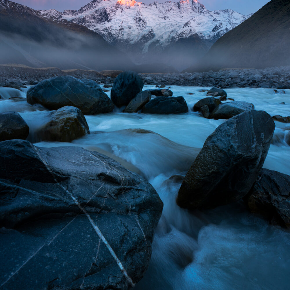 Mount Sefton, sunrise. New Zealand.