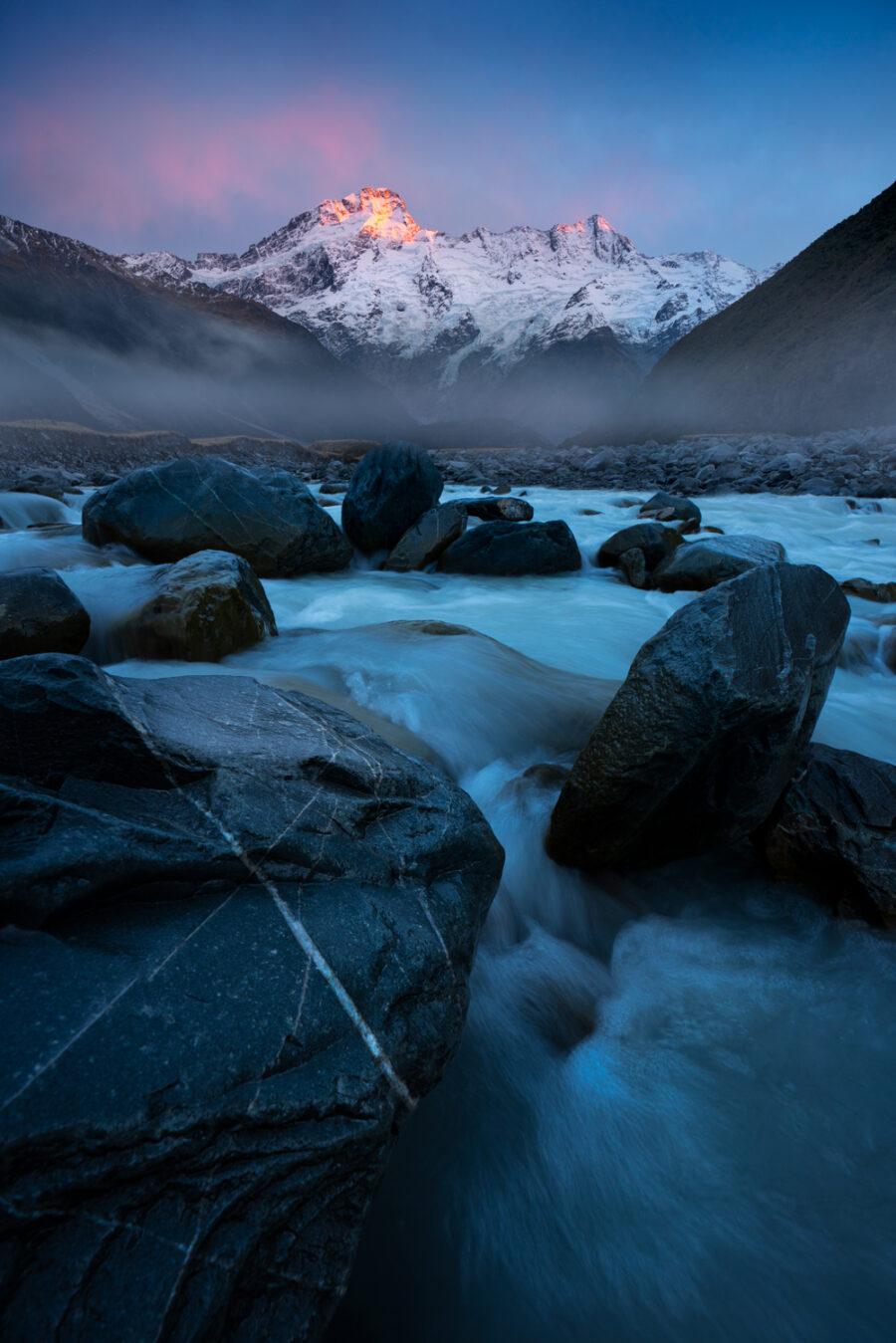 Mount Sefton, sunrise. New Zealand.