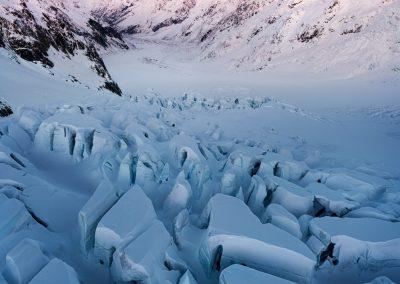 Tasman glacier crevasses and Mount Cook (Aoraki)