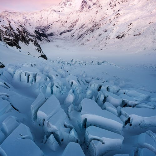 Tasman glacier crevasses and Mount Cook (Aoraki)