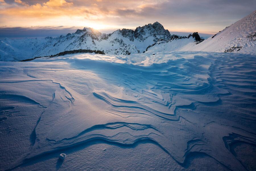 Sastrugi and mountains, New Zealand