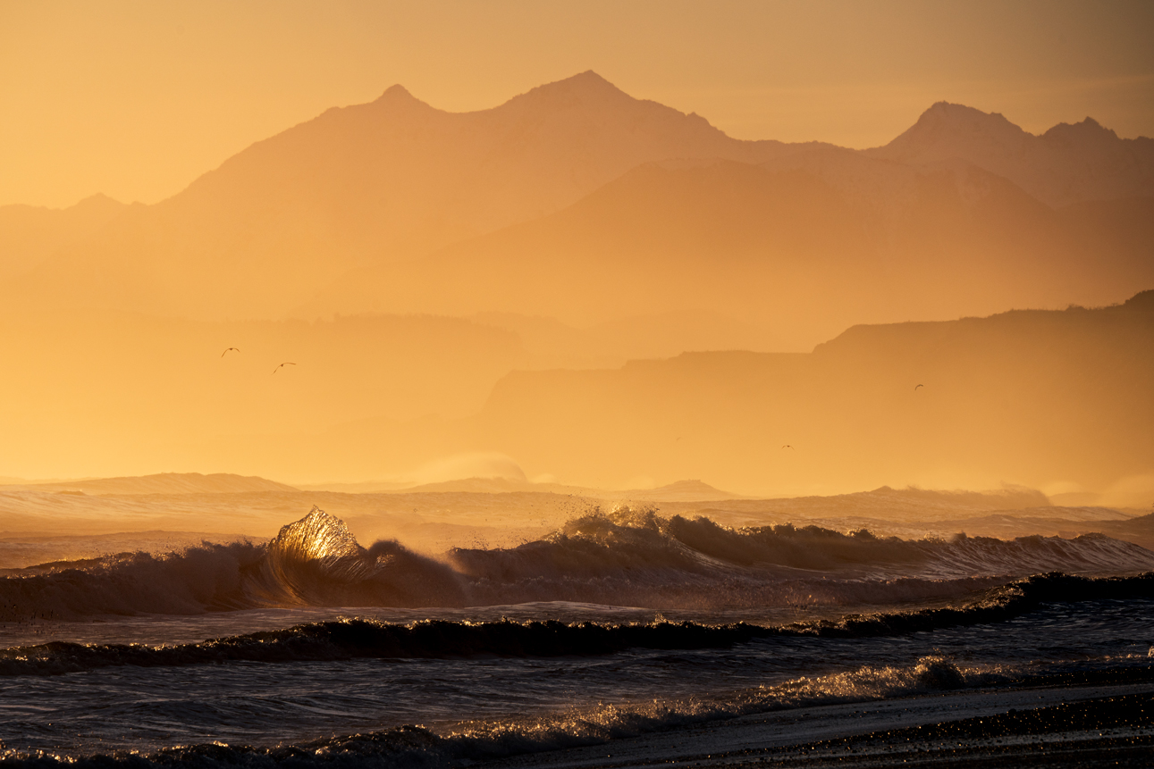 Waves and mountains. South Coast New Zealand