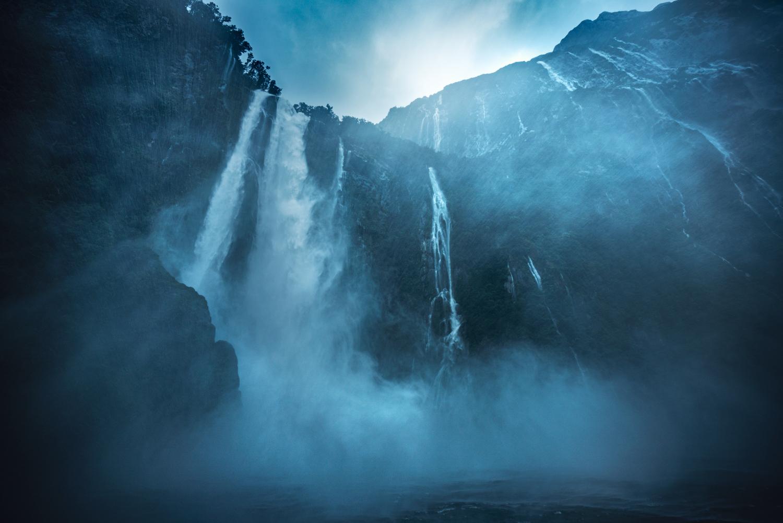 Stirling falls, heavy rainfall. Milford Sound NZ