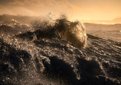 Big surf at sunrise. West Coast New Zealand