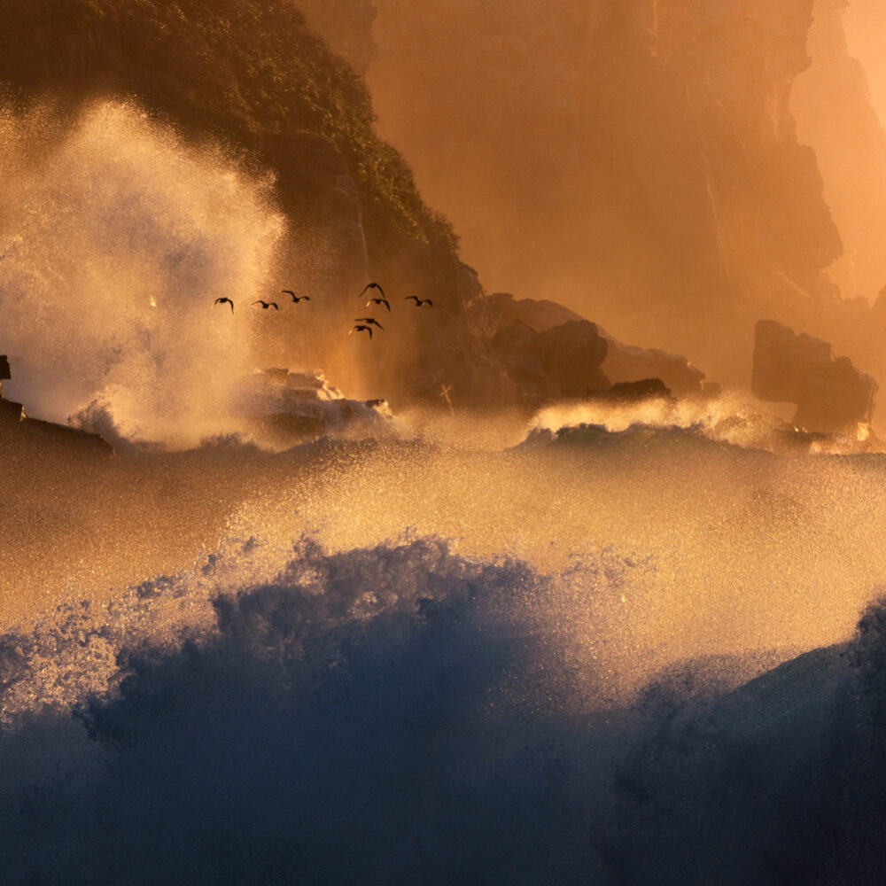 Crashing waves and cliffs at dawn