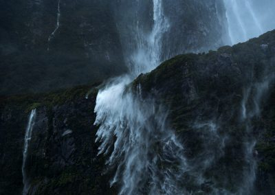 Wind and rain, Milford Sound waterfalls