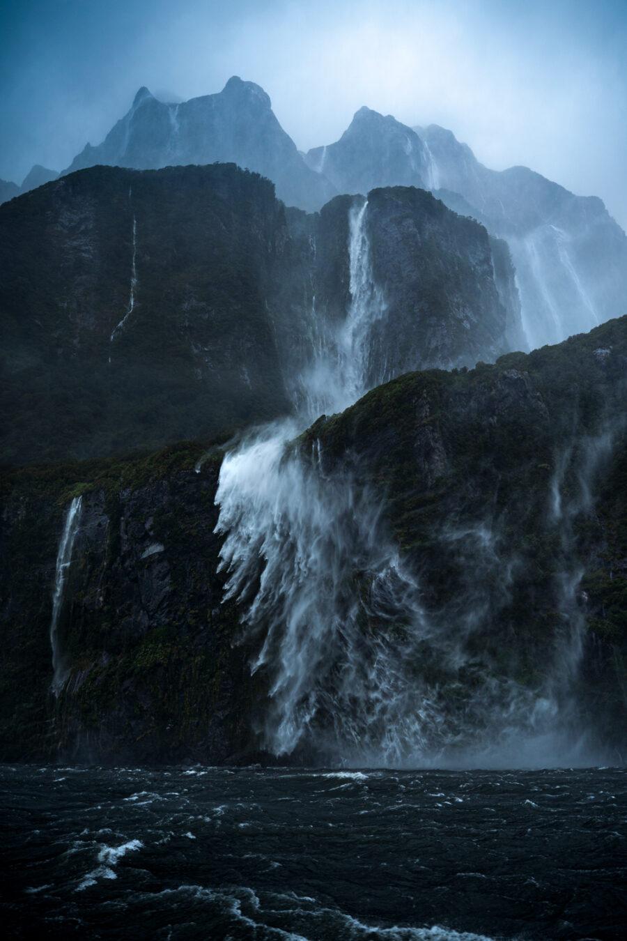 Wind and rain, Milford Sound waterfalls