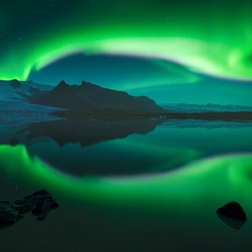 The aurora reflected in glacier lagoon, Iceland