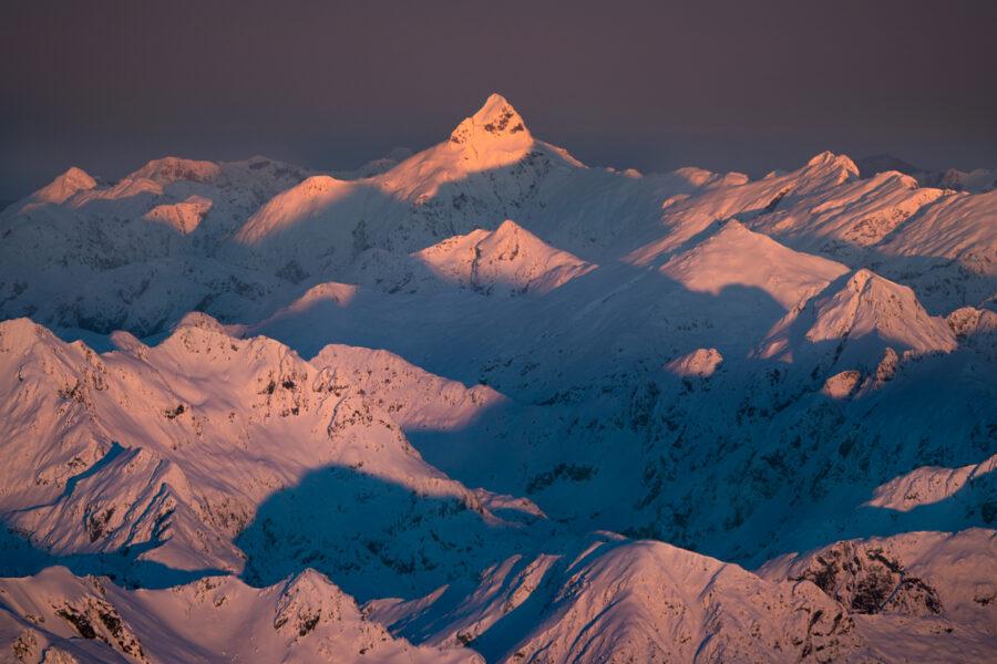Mountains of Fiordland at dawn