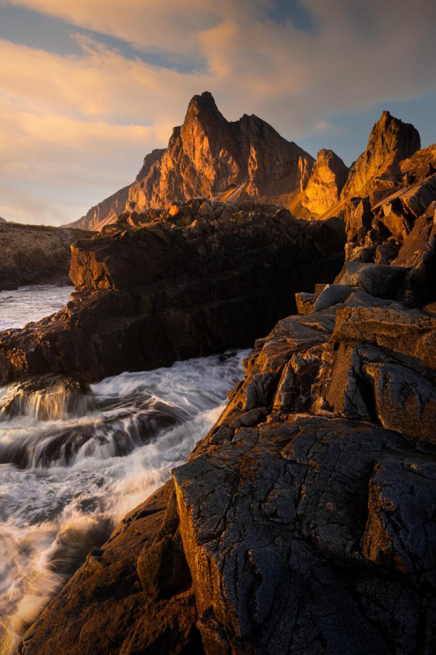 Sunlight on Estrahorn mountain, Iceland
