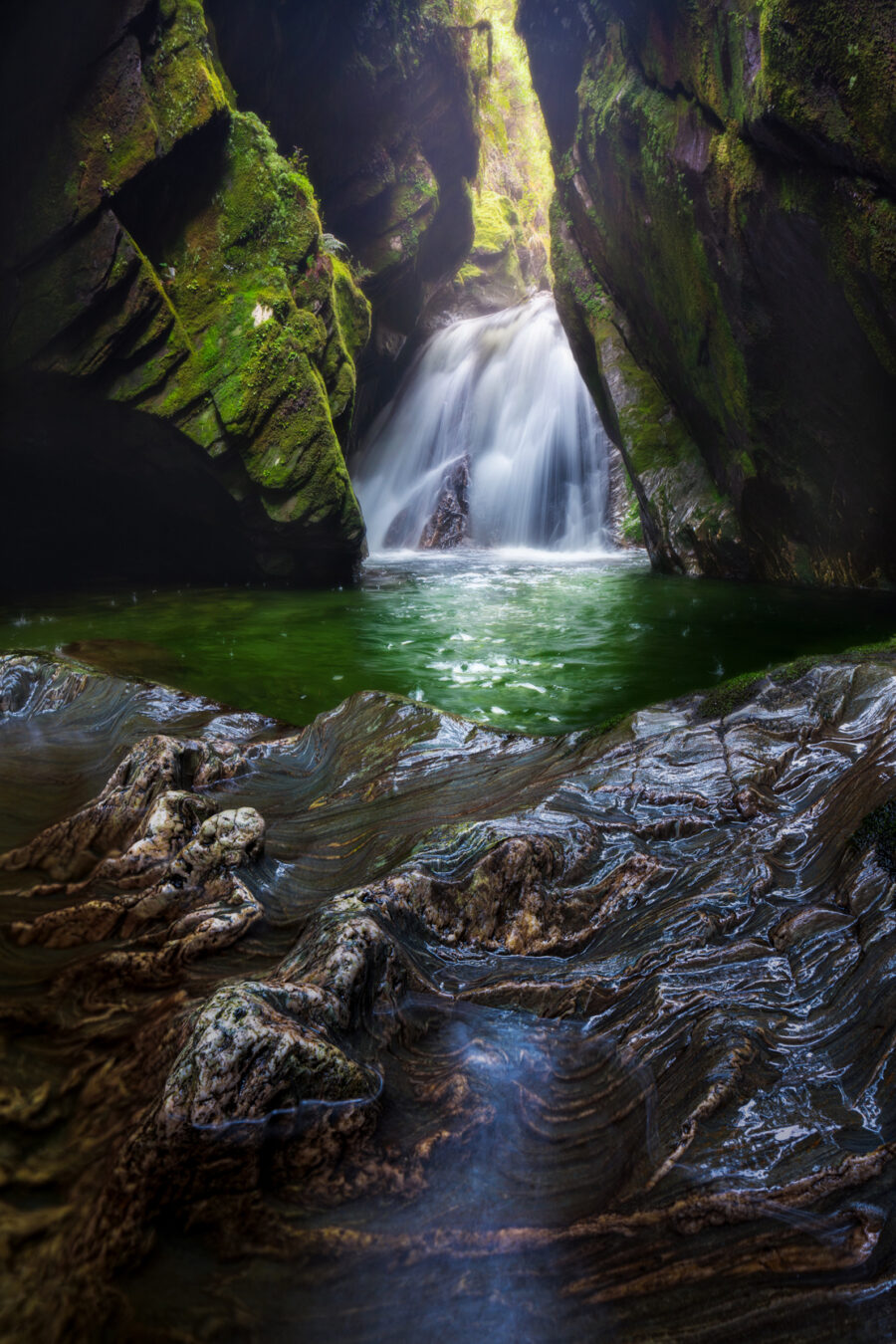 Canyon waterfall, Haast Pass New Zealand