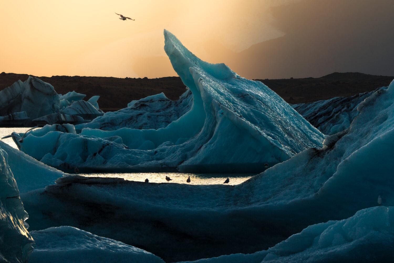 Jokulsarlon glacier lagoon sunset, Iceland