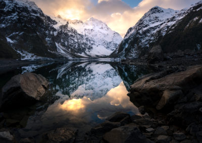 Sunset reflections in Lake Marian Fiordland