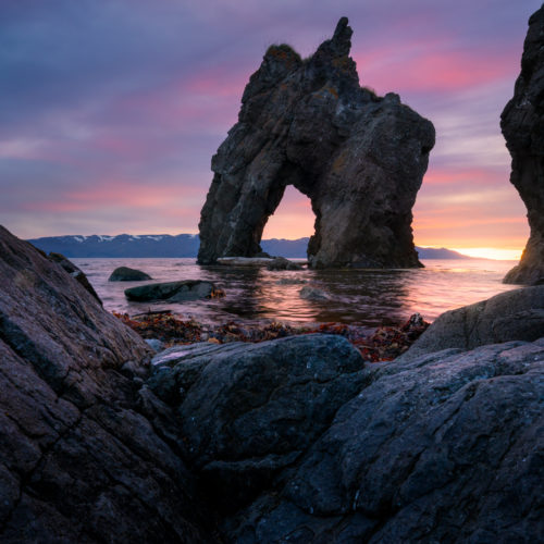 Sunset sea stack, northern Iceland, Husavik