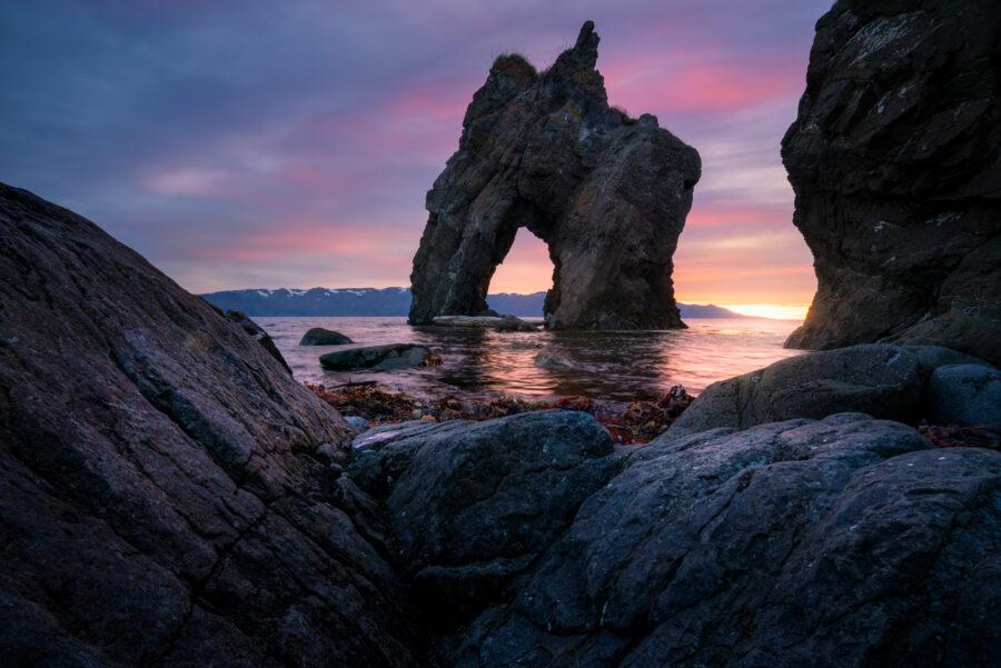 Sunset sea stack, northern Iceland, Husavik