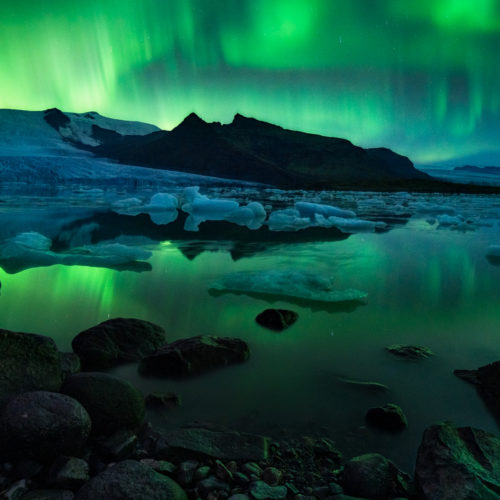The aurora borealis and glacial lagoon in Iceland
