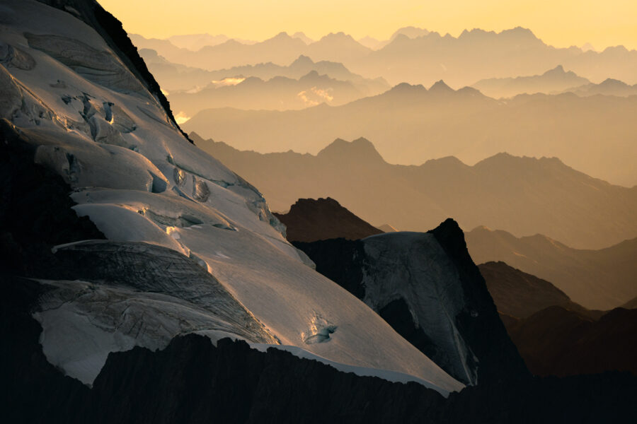 Mountain layers of the Southern Alps, New Zealand
