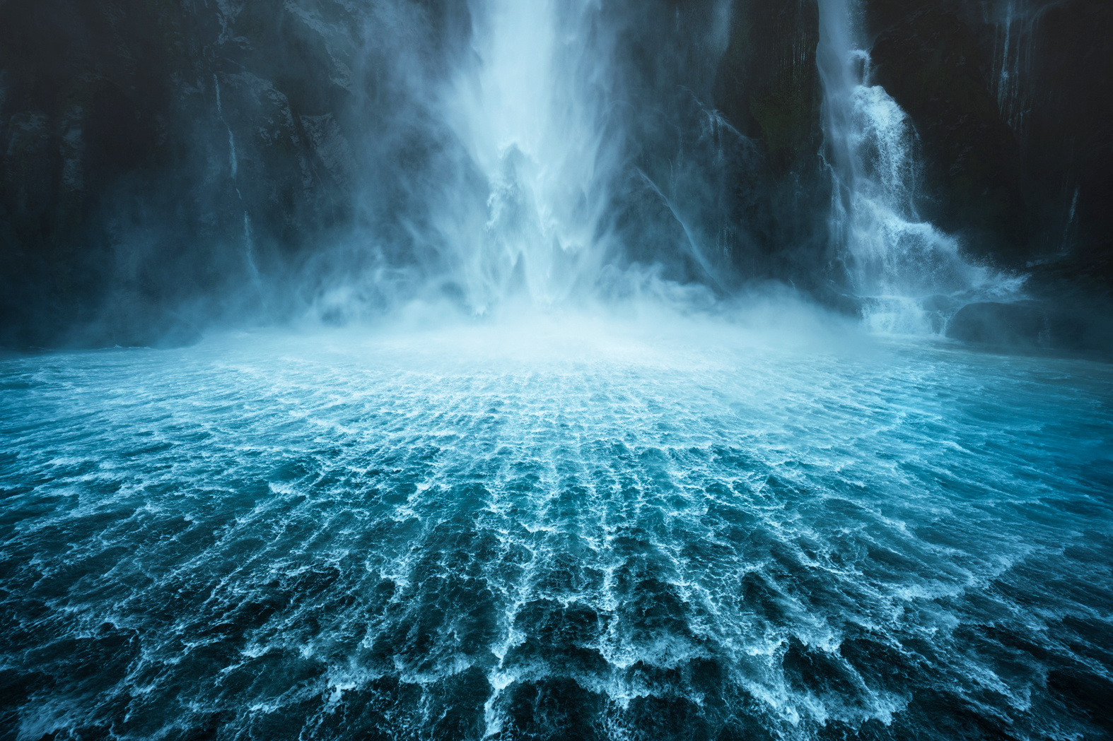 Tessellated water patterns below Stirling Falls, Milford Sound New Zealand