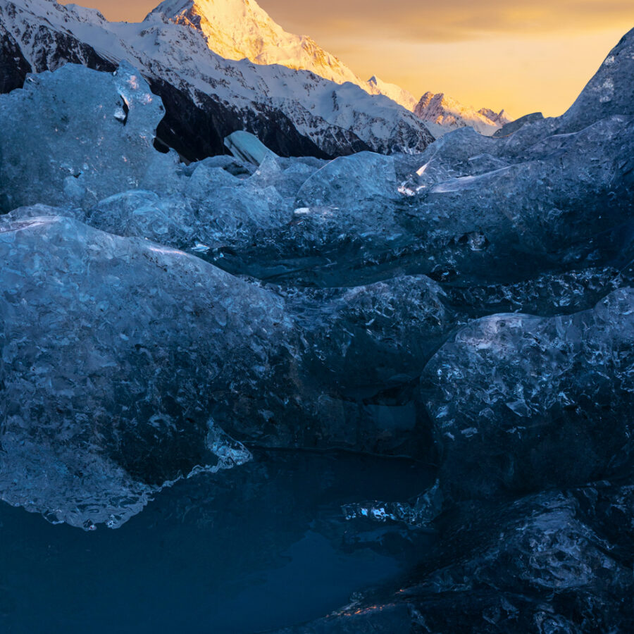 Sunrise, Mount Cook and ice from the Tasman glacier
