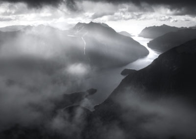 Doubtful Sound, misty black and white.