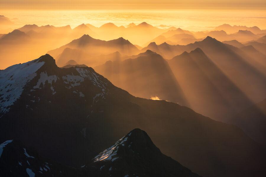 Mountain layers and light, Fiordland New Zealand