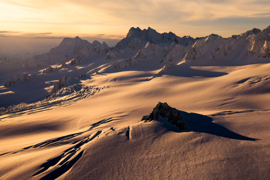 Sunrise over an ice field in New Zealand