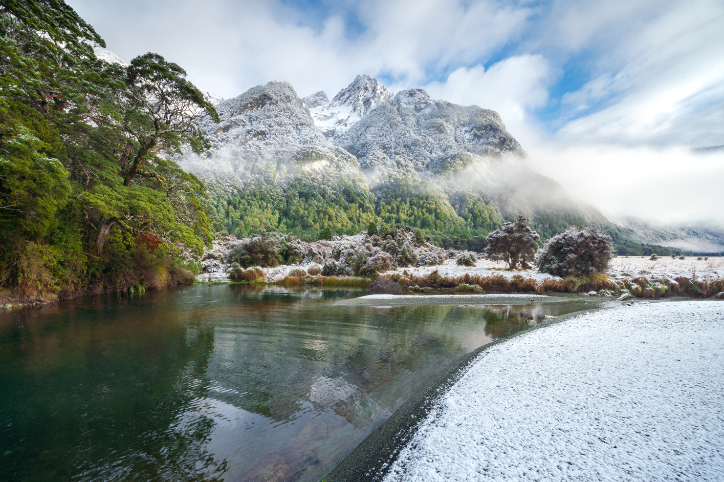 Fresh snow and morning light, Fiordland New Zealand